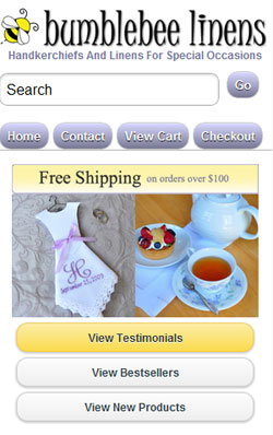 Bumblebee Linens Mobile Site