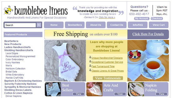 Bumblebee Linens Hankies