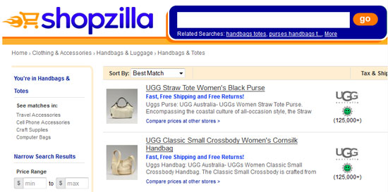 Shopzilla comparison shopping engines