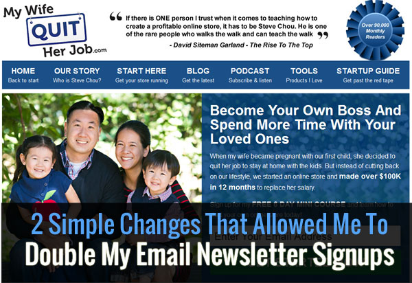 How To Build An Email List - 2 Simple Tweaks That Doubled My Signups