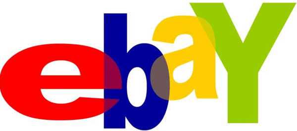 Colorful eBay website icon on white background