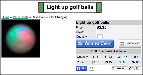 Steve Lightup Golf Balls