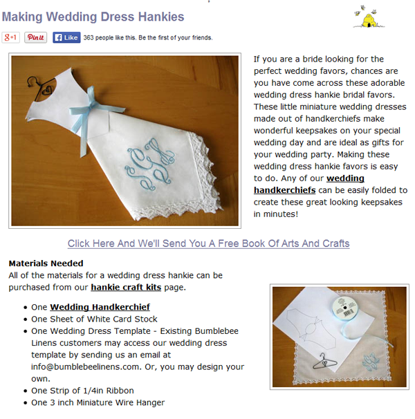wedding dress hankie tutorial