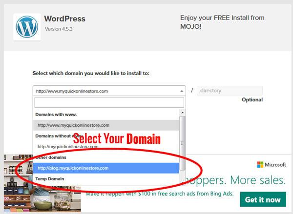 Wordpress Domain