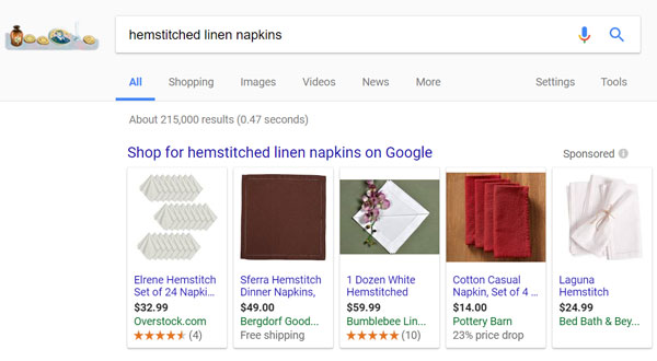 GOogle Shopping Example