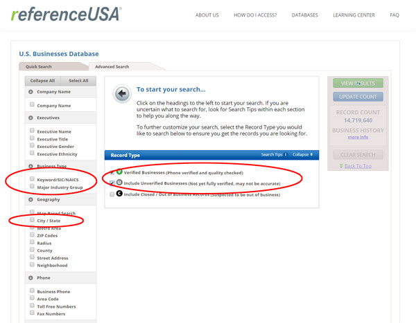 Reference USA example