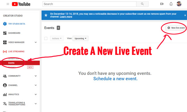 Create A New Live Event