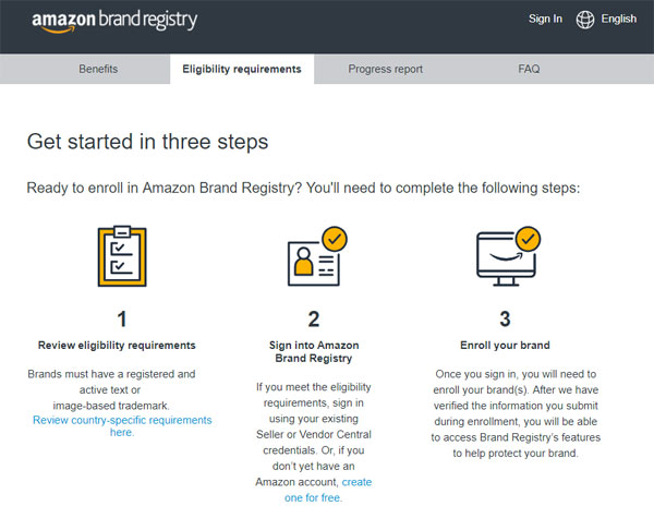 amazon trademark brand registry