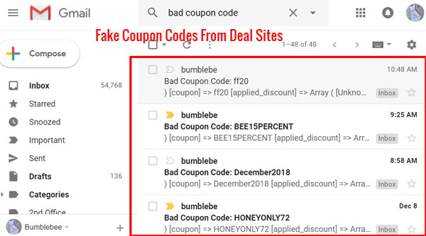 Fake Coupon Codes