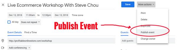 publish your event