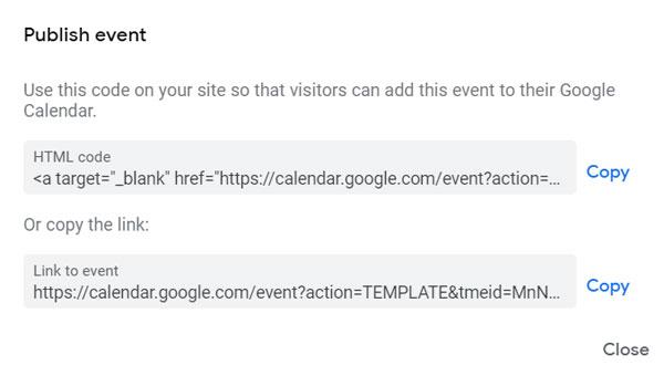 Calendar Share Links