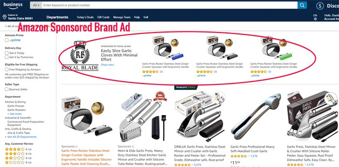 Amazon Sponsored Brand Ad