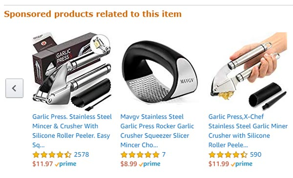 Amazon related products ads
