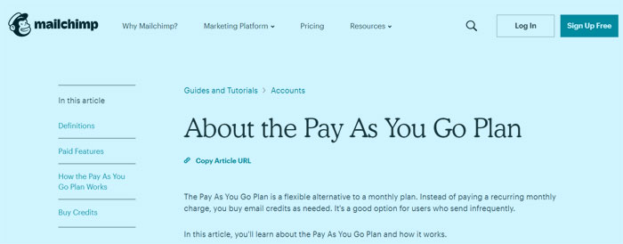 Mailchimp pay as you go plan