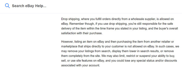 Ebay Stance on dropshipping