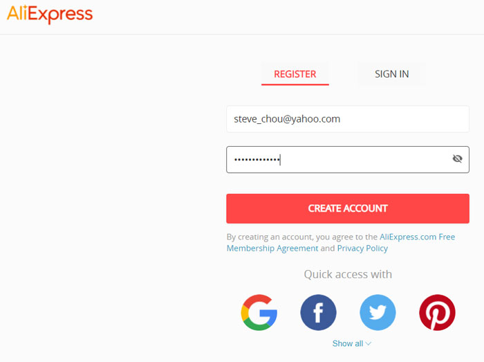 AliExpress Signup