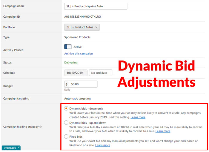 Amazon Dynamic Bids