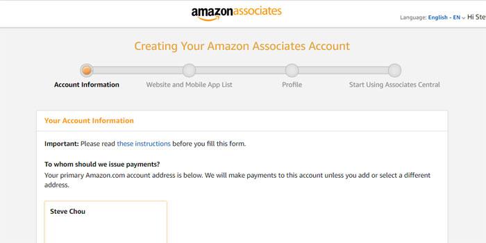 Amazon Associates Signup