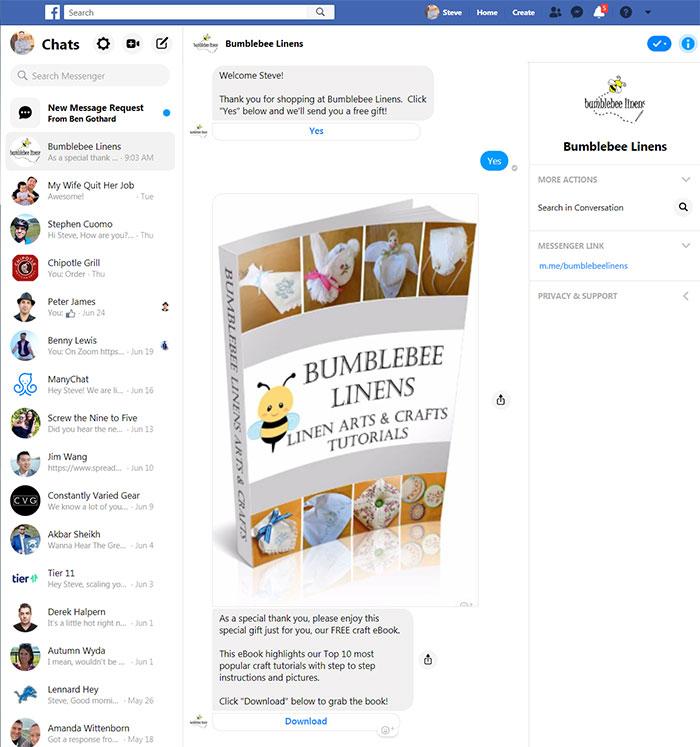 Messenger Checkbox Message