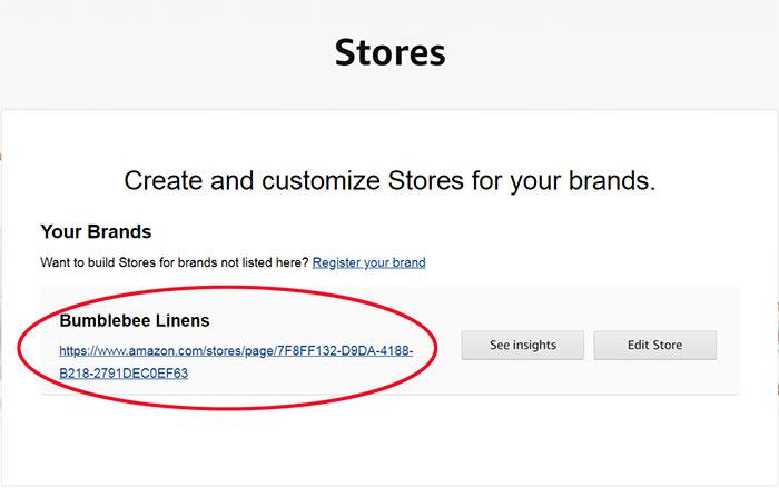 Amazon Storefront URL