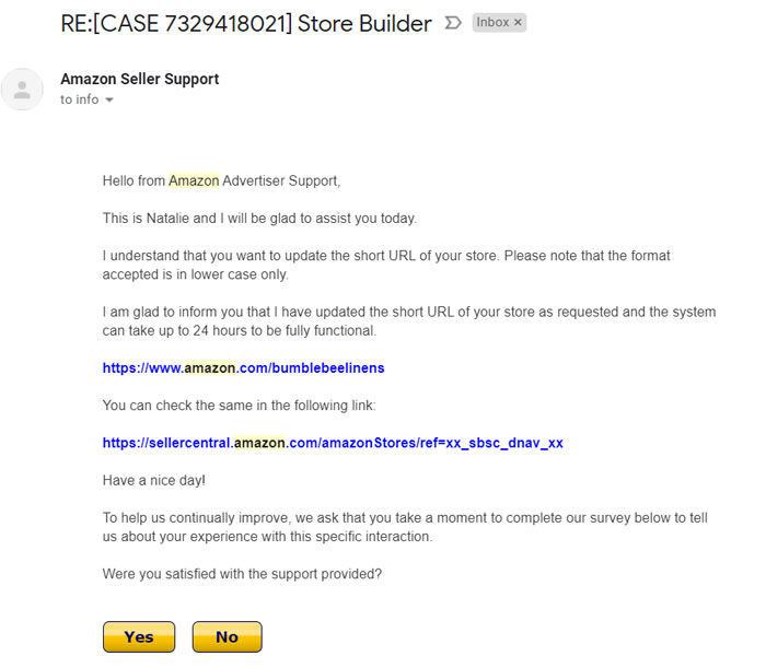 Amazon Store Vanity URL