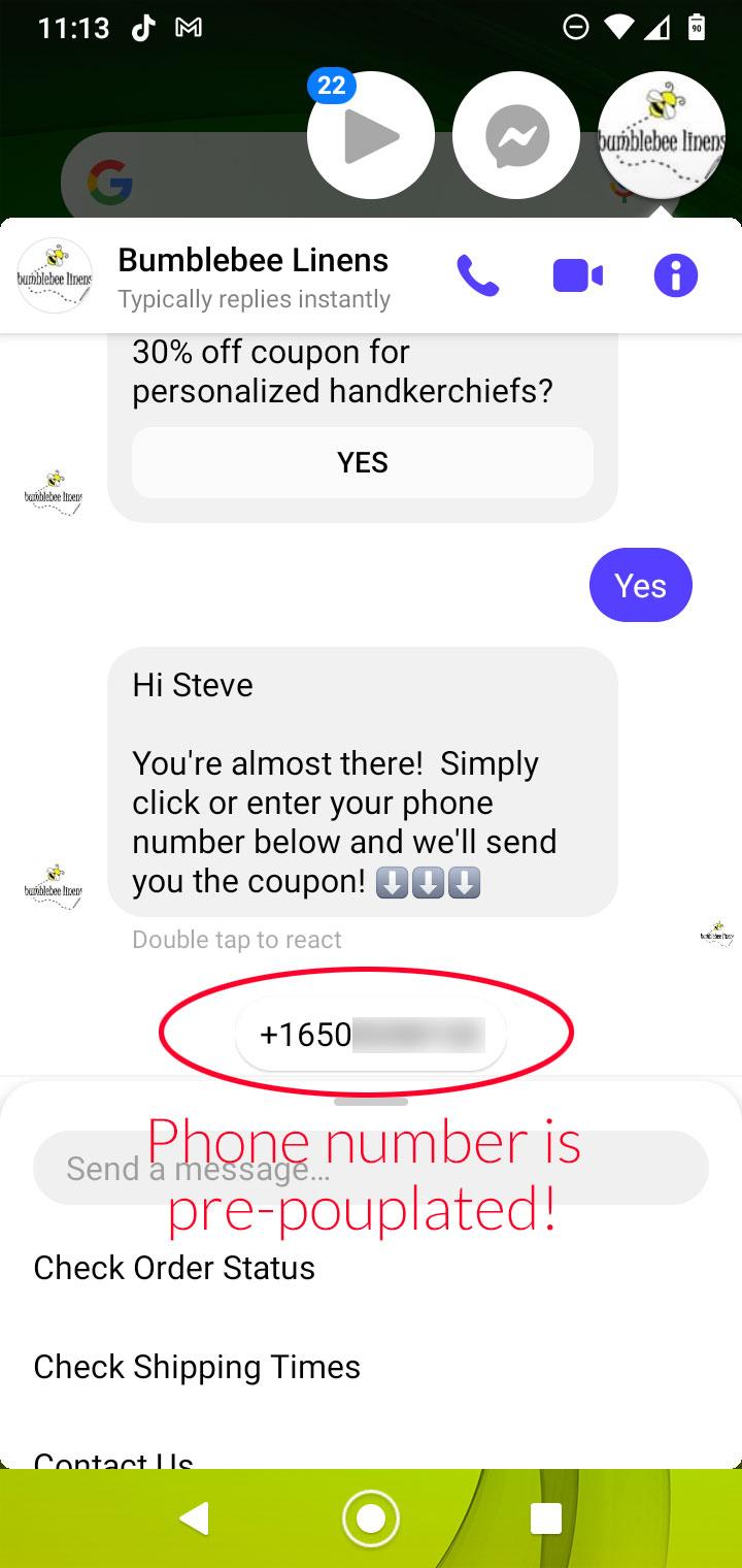 Messenger SMS Optin