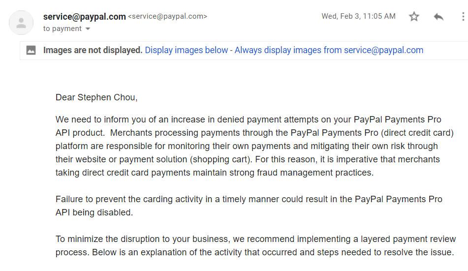 Paypal warning