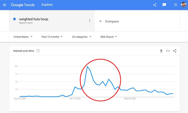 Google Trends Weighted Hula Hoop
